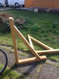 2 wooden trusses for roof or door canopy