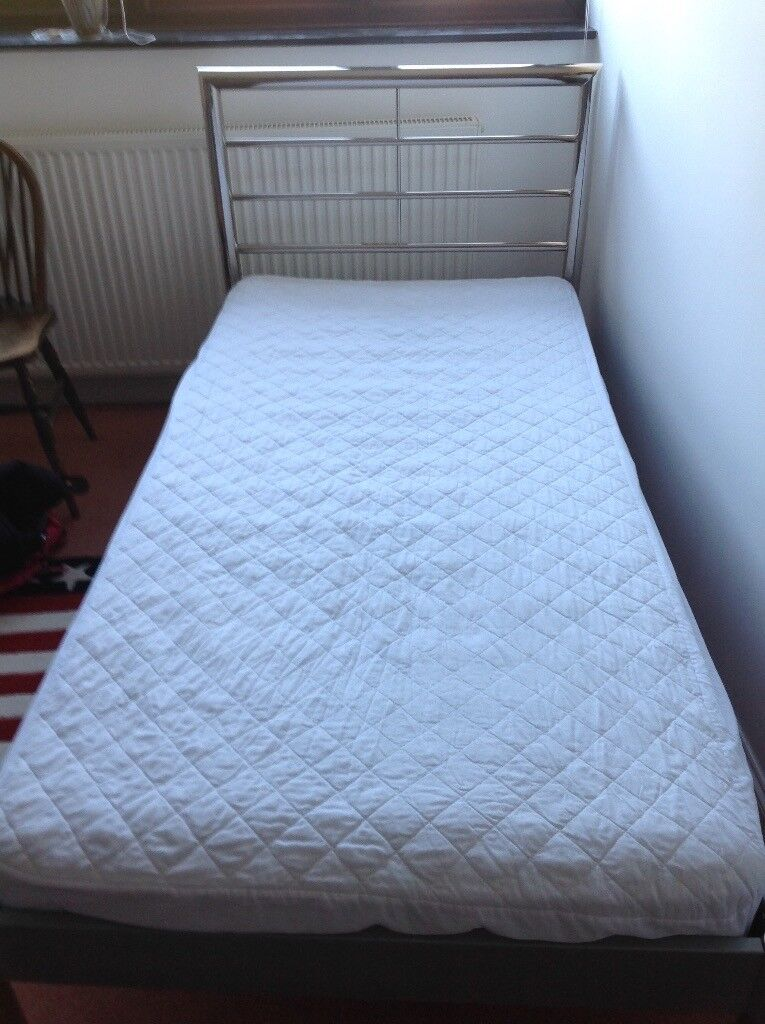 3' single bed, chrome headboard with mattress if wanted.