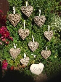 Vintage rustic hanging hearts - Wedding / home decorations