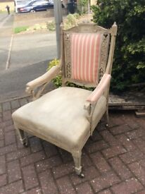 Two attractive chairs, both had parts finished with Annie Sloan paint, one on original castors