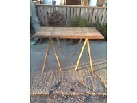 Vintage industrial trestle table reclaimed Made in Germany