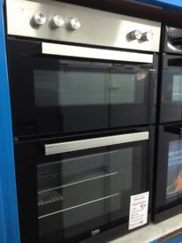 Beko built in double oven. RRP £379. Stainless steel and black. 12 month Gtee