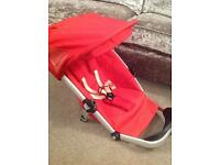 Red Quinny Buzz Carrycot, Pram top, Cosy-toes, Bag and Rain Cover