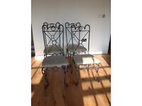 4 Chrome Dining Room Chairs for sale and a Brown 2 Seater Leather Sofa