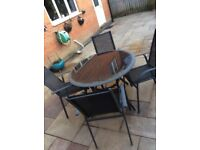 Garden glass table & chairs