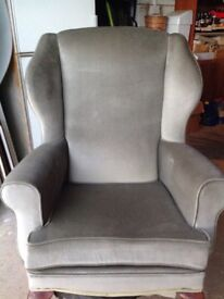 Armchair, pale green draylon, wingbacked, removable cushion