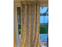 """Pair of long grey, fully lined eyelet curtains, 90""""x90"""" (228x228cm)"""