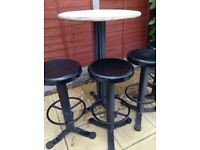 Garden table and 4 stools