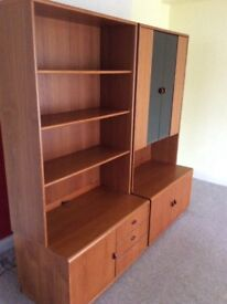 Teak wall unit and cabinet