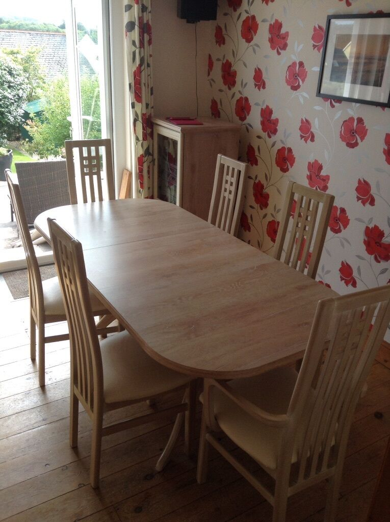 Limed oak dining table and six chairs in st austell cornwall gumtree - Limed oak dining tables ...