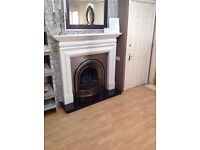 Fireplace Package Including Mantel, Cast & Fire