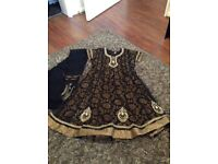 Black and gold girls salwar kameez