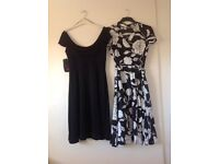 Two size 12 dresses. Black BNWT. Floral Hobbs