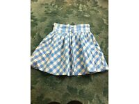 Blue and white checked skirt size 8