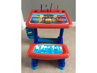 Children's Table - Desk & Chair. Blue & Red Sturdy Plastic. For All Activities. Chuggington Trains.