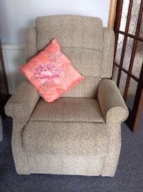 2 seater settee, 1 armchair & 1 recliner chair with stool.