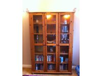 Solid pine x3 living room furniture. Glass display cabinet, Hifi unit and corner cabinet