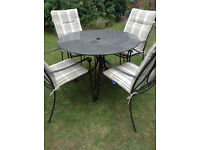 NEPTUNE Provence Garden Table + 4 Chairs + Neptune Cushions