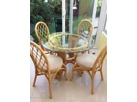 Glass and bamboo table and chairs