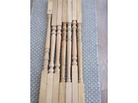 Seven oak stair spindles (new)