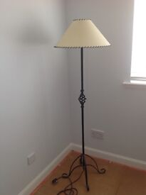 Floor lamp with wrought iron stand
