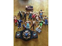 Selection of wrestling figures and various wrestling accessories