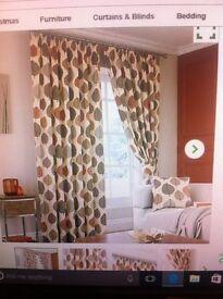 Curtains. Rega Terracota Lined Pencil Pleat.