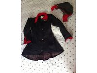 Welligogs Louise Black & Red Waxed Cotton Windproof Coat Size S - UK 10- Glasgow Partick