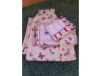 Two pairs of matching Laura Ashley lined curtains with double duvet and two pillowcases