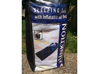 Sleeping bag with inflatable air bed, used once!