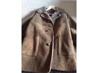 Large teak genuine sheepskin coat - vintage coat
