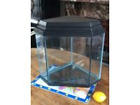 Attractive 5-sided aquarium with evaporation lid and top, good condition, clean. Suits small fish.