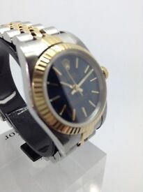 GENUINE BI METAL LADIES ROLEX OYSTER PERPETUAL MODEL 76193 YEAR 1998 STEEL 18K GOLD RARE BLUE DIAL