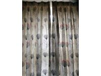 John Lewis curtains in grey/taupe with contemporary seedhead pattern , good condition £35