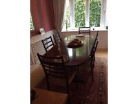 Dining Table, Elegant, Rosewood and 6 dining chairs made in Sweden
