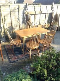 Ercol 60's extending dining table and 6 x Quaker Chairs