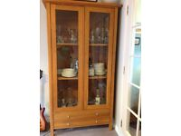 Dining room glass fronted cabinet, 2 glass doors, and solid oak wood.