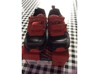 Clarks red and black shoes/trainers, size 9F, light up dinosaur design