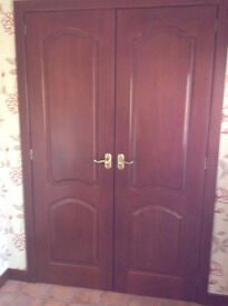7 x Solid Hardwood varnished doors and 4 x L glazed Solid Hardwood internal doors
