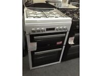 Beko white gas cooker with glass lid. 60cm £349 RRP £550. New/graded 12 month Gtee