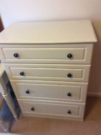 White wood deep chest of drawers