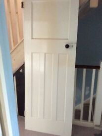 Two original 1930s 4 panel internal doors, painted white
