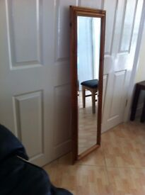 Bevilled tall mirror with solid wood surround