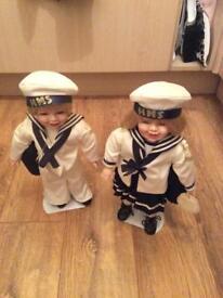 For sale pair of sailor porcelain dolls