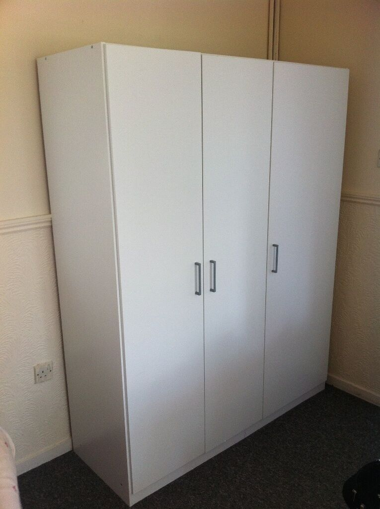 ikea 3 door white wardrobe domb s in great condition in bretton cambridgeshire gumtree. Black Bedroom Furniture Sets. Home Design Ideas