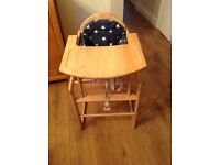 John Lewis wooden highchair with seat pad