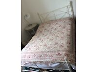 Cream metal double bed frame and mattress
