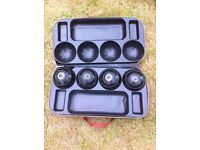 Set of 4 number 5 inch R G Lawrie Rinkmaster bowls c/w case