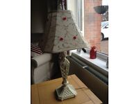 ORNATE TABLE LAMP AND SHADE, NICE CONDITION