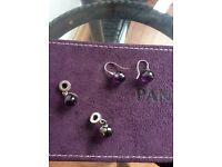 Pandora earrings and matching charms
